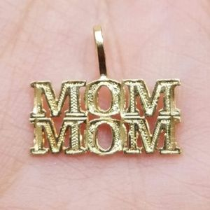 14k Solid Yellow Gold Mom Mom Pendant or Charm